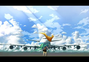 Rating: Safe Score: 73 Tags: aircraft aqua_hair clouds hatsune_miku hazfirst long_hair skirt sky twintails vocaloid User: FormX