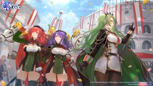 Rating: Safe Score: 22 Tags: animal anthropomorphism azur_lane bibimbub blue_hair breasts cape cleavage gloves green_hair hat horse littorio_(azur_lane) logo long_hair manjuu_(azur_lane) orange_eyes pantyhose petals pola_(azur_lane) red_eyes red_hair sword thighhighs twintails weapon zara_(azur_lane) User: Nepcoheart