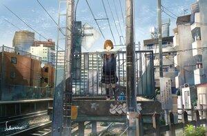 Rating: Safe Score: 21 Tags: building city original sakura_inu_(itoyatomo) scenic school_uniform signed User: FormX