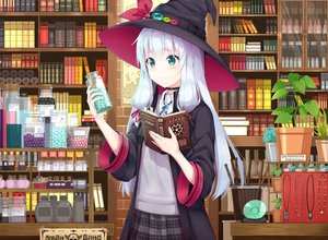 Rating: Safe Score: 98 Tags: blush book flowers gray_hair green_eyes hat kaie long_hair original skirt witch witch_hat User: RyuZU