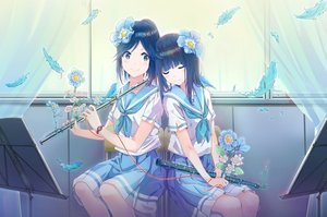 Rating: Safe Score: 108 Tags: 2girls animal flowers hibike!_euphonium instrument jadeqilin kasaki_nozomi liz_to_aoi_tori school_uniform yoroizuka_mizore User: BattlequeenYume