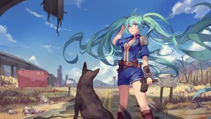 Rating: Safe Score: 106 Tags: animal atdan blue_eyes blue_hair breasts cleavage dog fallout fallout_4 gun hatsune_miku long_hair twintails vocaloid weapon User: luckyluna