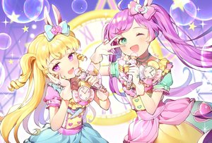 Rating: Safe Score: 31 Tags: 2girls animal_ears azit_(down) blonde_hair blush bow bubbles bunny_ears dress gloves green_eyes long_hair manaka_lala microphone pripara purple_eyes purple_hair signed twintails wink yumekawa_yui User: RyuZU