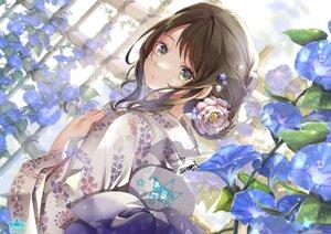 Rating: Safe Score: 58 Tags: akatsuki_hijiri aliasing bow brown_hair fan flowers green_eyes huion japanese_clothes kimono logo original signed User: BattlequeenYume