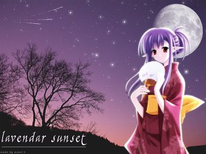 Rating: Safe Score: 6 Tags: fan japanese_clothes kimono moon nerine pointed_ears purple_hair red_eyes shuffle sky stars sunset tree User: Oyashiro-sama