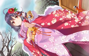 Rating: Safe Score: 115 Tags: anthropomorphism blush flowers headdress japanese_clothes kantai_collection long_hair note_(aoiro_clip) pantyhose purple_hair red_eyes ribbons sky snow taigei_(kancolle) tree waifu2x winter yukata User: Eleanor