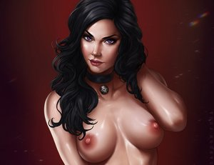 Rating: Questionable Score: 10 Tags: black_hair breasts choker cropped dandon_fuga long_hair nipples nude purple_eyes red the_witcher watermark yennefer_of_vengerberg User: SciFi