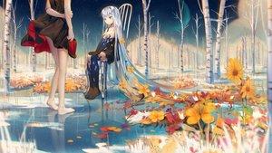 Rating: Safe Score: 68 Tags: 2girls blue_eyes doll dress flowers forest ji_dao_ji long_hair original reflection tree water white_hair User: Fepple