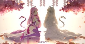 Rating: Safe Score: 88 Tags: 300_heroes animal_ears cangkong catgirl cherry_blossoms headphones jpeg_artifacts long_hair petals pink_eyes pink_hair sketch tail thighhighs User: luckyluna