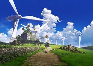 Rating: Safe Score: 54 Tags: brown_hair building clouds grass kneehighs landscape mocha_(cotton) original scenic seifuku short_hair signed skirt sky windmill User: RyuZU