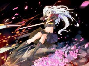 Rating: Safe Score: 54 Tags: aliasing aqua_eyes boots flowers kneehighs long_hair mosta_(lo1777789) navel petals school_uniform skirt sword weapon white_hair User: mattiasc02