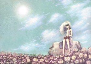 Rating: Safe Score: 57 Tags: aqua_eyes barefoot blackball clouds dress flowers original sky white_hair User: opai