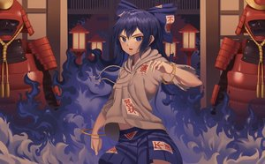 Rating: Safe Score: 46 Tags: armor blue_eyes blue_hair bow fire goback hoodie long_hair magic navel ofuda samurai skirt touhou wristwear yorigami_shion User: Dreista