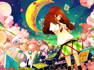 Rating: Safe Score: 41 Tags: brown_hair flowers moon skirt tagme tie User: w7382001