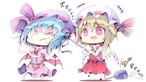 Rating: Safe Score: 25 Tags: 2girls aqua_hair blonde_hair bow chibi fang flandre_scarlet hat kin-iro_no_puu pink_eyes remilia_scarlet short_hair touhou vampire wings User: RyuZU