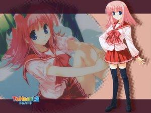 Rating: Safe Score: 11 Tags: aquaplus kouno_harumi leaf mitsumi_misato pink_hair school_uniform thighhighs to_heart to_heart_2 User: Oyashiro-sama