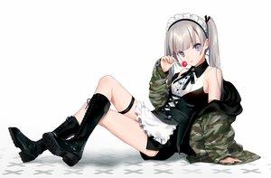 Rating: Safe Score: 102 Tags: boots candy dress goth-loli gray_eyes gray_hair lolita_fashion lollipop maid original twintails urata_asao white User: BattlequeenYume