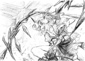 Rating: Safe Score: 61 Tags: fang flandre_scarlet hat imizu_(nitro_unknown) monochrome ribbons sketch touhou vampire wings User: PAIIS