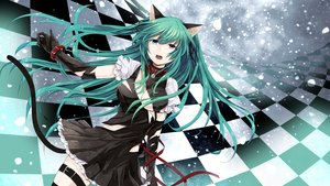 Rating: Safe Score: 145 Tags: animal_ears aqua_hair bicolored_eyes blue_eyes breasts cleavage collar dress elbow_gloves long_hair pink_eyes ribbons snow tail torn_clothes toudou_charo utau wristwear User: FormX