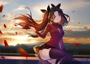 Rating: Safe Score: 115 Tags: andy_h brown_hair building city fate_(series) fate/stay_night long_hair panties petals purple_eyes skirt sunset thighhighs tohsaka_rin underwear User: RyuZU