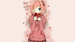 Rating: Safe Score: 96 Tags: blue_eyes bow heart long_hair original pink ponytail red_hair sky_(freedom) third-party_edit valentine wink User: Dummy