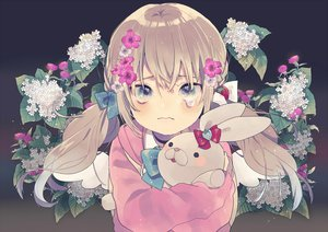 Rating: Safe Score: 27 Tags: aliasing blue_eyes blush bow brown_hair bunny choker crying flowers hoodie kouhara_yuyu long_hair original tears twintails wings User: luckyluna