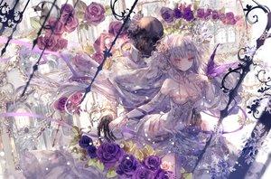 Rating: Safe Score: 80 Tags: bones breasts cleavage dress flowers long_hair onineko original purple_eyes rose skull white_hair User: BattlequeenYume