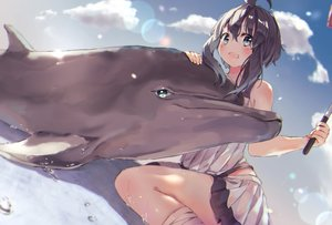 Rating: Safe Score: 52 Tags: animal black_hair blue_eyes blush clouds dolphin original short_hair skirt sky soranagi_yuki User: BattlequeenYume