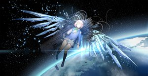 Rating: Safe Score: 101 Tags: brown_hair chise earth greetload kneehighs planet saikano seifuku short_hair space stars techgirl torn_clothes weapon wings User: Flandre93