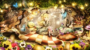 Rating: Safe Score: 81 Tags: alice_in_wonderland alice_(wonderland) animal bird blonde_hair butterfly cat cheshire_cat flowers forest sui_(petit_comet) tree User: Flandre93