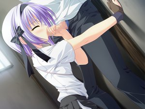 Rating: Explicit Score: 54 Tags: censored fellatio game_cg hinata_ibuki hoshizora_e_kakaru_hashi penis purple_hair short_hair User: ホタル