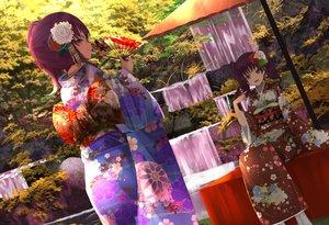 Rating: Safe Score: 54 Tags: 2girls fan japanese_clothes kazuno_leah kazuno_sarah kimono long_hair love_live!_school_idol_project love_live!_sunshine!! orein ponytail purple_hair red_eyes tree twintails water waterfall User: BattlequeenYume