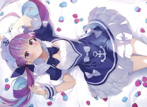 Rating: Safe Score: 96 Tags: braids breasts cleavage cropped headdress hololive long_hair matsui_hiroaki minato_aqua purple_eyes scan twintails User: Nepcoheart