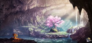 Rating: Safe Score: 63 Tags: cherry_blossoms flowers grass original petals rapt_(47256) robot scenic tree water waterfall watermark User: mattiasc02