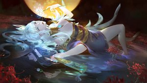Rating: Safe Score: 67 Tags: aliasing barefoot dress fan final_fantasy final_fantasy_xiv flowers green_eyes long_hair moon reflection tagme_(artist) tsukuyomi water white_hair yotsuyu User: BattlequeenYume