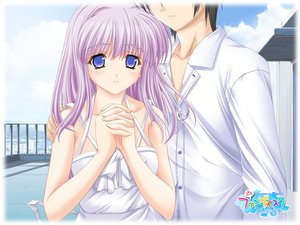 Rating: Safe Score: 9 Tags: blue_eyes dress konoe_nanami lamune long_hair pink_hair sky tomosaka_kenji white User: Oyashiro-sama
