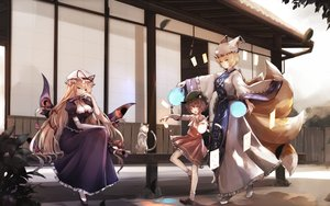 Rating: Safe Score: 42 Tags: aliasing animal animal_ears blonde_hair brown_hair building cat catgirl chen dress dyolf foxgirl loli long_hair magic multiple_tails short_hair tail touhou yakumo_ran yakumo_yukari User: BattlequeenYume
