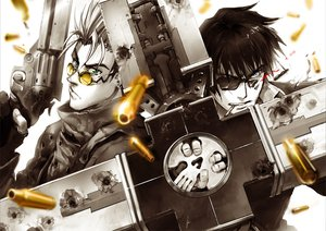 Rating: Safe Score: 85 Tags: all_male black_hair blood blue_eyes cigarette glasses gloves green_eyes gun lychi male nicholas_d_wolfwood polychromatic short_hair smoking sunglasses trigun vash_the_stampede weapon User: PAIIS