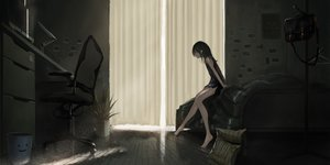 Rating: Safe Score: 191 Tags: barefoot bed black_hair computer dark dress kagumanikusu long_hair original User: RyuZU