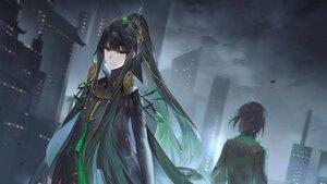 Rating: Safe Score: 48 Tags: black_hair building city clouds dark gray_eyes long_hair ponytail punishing:_gray_raven qu sky yinzinmiemie User: otaku_emmy