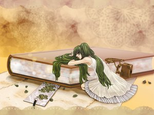 Rating: Safe Score: 15 Tags: book dress green_hair hatsune_miku twintails vocaloid User: HawthorneKitty