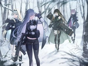 Rating: Safe Score: 100 Tags: ak12_(girls_frontline) an94_(girls_frontline) anthropomorphism aqua_eyes blonde_hair boots brown_eyes brown_hair forest girls_frontline gloves gray_hair group gun long_hair m4a1_(girls_frontline) mt_(ringofive) pink_hair ponytail purple_eyes snow st_ar-15_(girls_frontline) thighhighs tree uniform weapon User: sadodere-chan