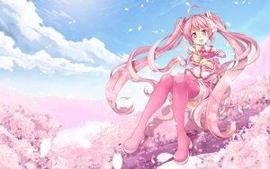 Rating: Safe Score: 92 Tags: cherry_blossoms clouds flowers hatsune_miku long_hair petals pink_eyes pink_hair sakura_miku sky thighhighs twintails vocaloid windart User: FormX