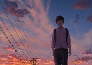 Rating: Safe Score: 37 Tags: all_male brown_hair clouds male original papi_(papiron100) school_uniform short_hair signed sky sunset User: RyuZU