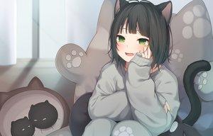 Rating: Safe Score: 94 Tags: amashiro_natsuki animal_ears black_hair blush catgirl fang green_eyes original short_hair tail User: BattlequeenYume