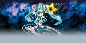 Rating: Safe Score: 71 Tags: aqua_eyes aqua_hair game_console hatsune_miku jpeg_artifacts kei long_hair night project_diva space stars thighhighs tie twintails vocaloid User: Wiresetc