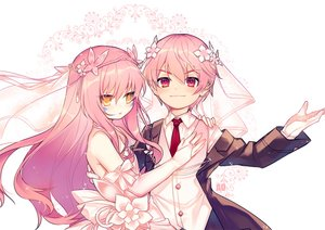 Rating: Safe Score: 31 Tags: dress elbow_gloves elsword elsword_(character) eve_(elsword) gloves headdress long_hair male pink_hair red_eyes short_hair suit tie utm watermark white yellow_eyes User: otaku_emmy