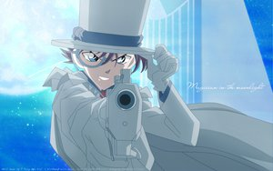 Rating: Safe Score: 31 Tags: all_male blue_eyes brown_hair cape detective_conan gloves gun hat kaitou_kid male moon short_hair sky stars suit weapon User: Tensa