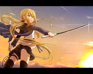 Rating: Safe Score: 42 Tags: anthropomorphism blonde_hair clouds kantai_collection long_hair satsuki_(kancolle) sunset sword thighhighs tr-6 twintails weapon yellow_eyes User: RyuZU