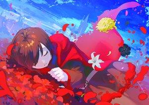Rating: Safe Score: 78 Tags: brown_hair cape clouds dress flowers hikari50503 hoodie pantyhose ruby_rose rwby short_hair sky sleeping User: otaku_emmy